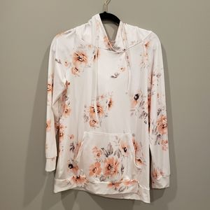 Floral M white/peach hooded pullover